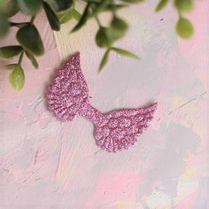 Кукольный аксессуар - Патч малиновые крылья с блестками, 1шт