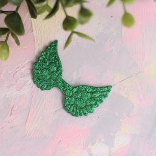 Кукольный аксессуар - Патч сочно-зеленые крылья с блестками, 1шт