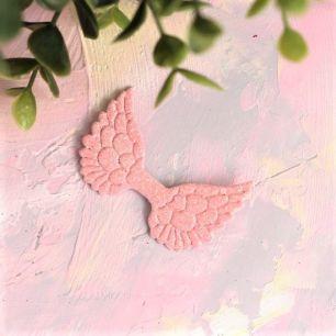 Кукольный аксессуар - Патч светло-розовые крылья с блестками, 1шт