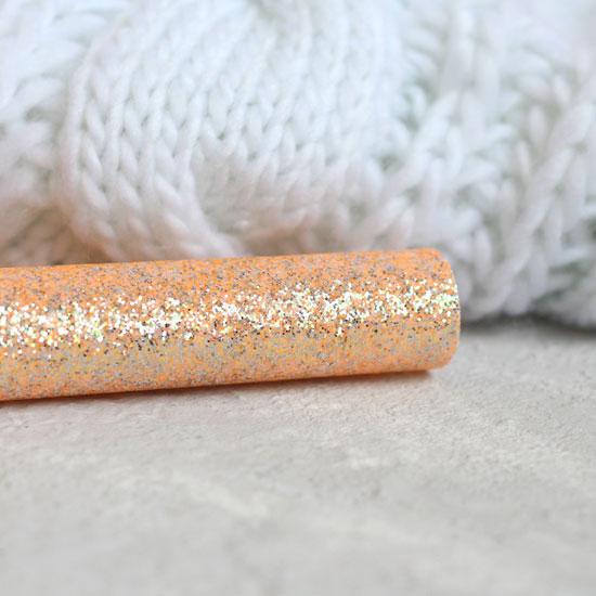 Экокожа для кукольных ботиночек с перламутровыми блестками - Оранжевый 30х20