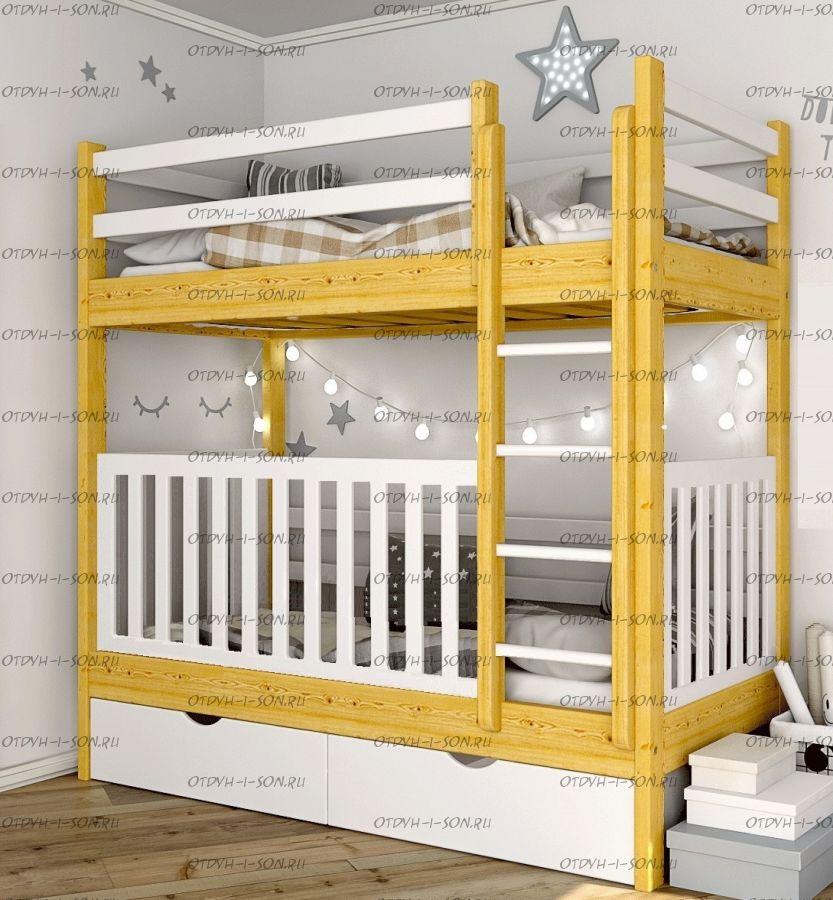 Кровать двухъярусная Малинка с ящиками №8+
