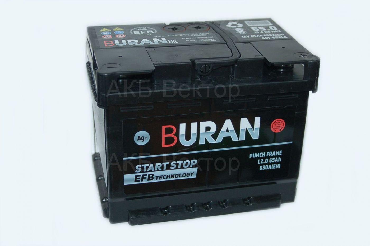Buran EFB+ 65 Ач 630А(EN) Start Stop