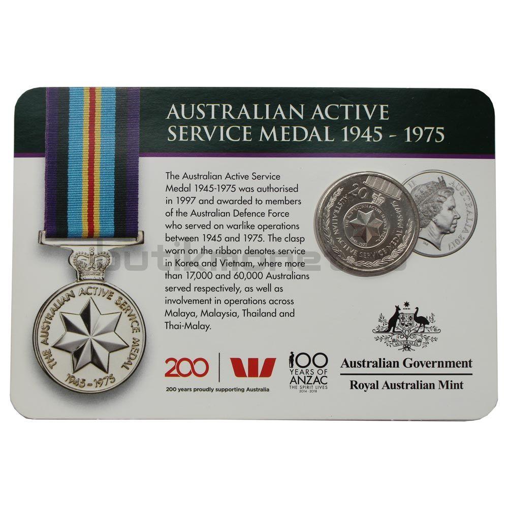 20 центов 2017 Австралия Медаль австралийской службы 1945-1975 (Медали почёта)