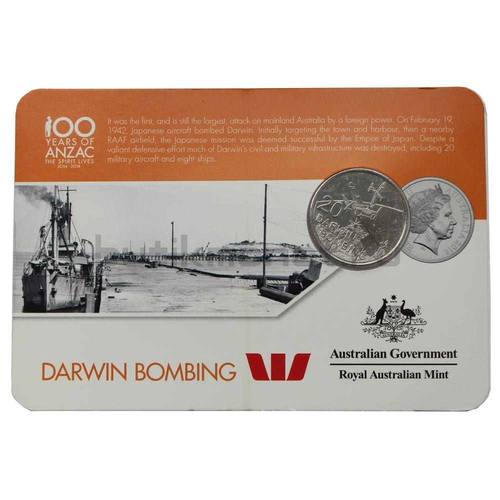 20 центов 2016 Австралия Бомбардировка Дарвина (От АНЗАК до Афганистана)