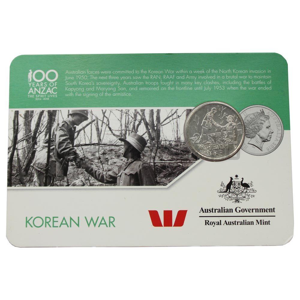 20 центов 2016 Австралия Корейская война (От АНЗАК до Афганистана)