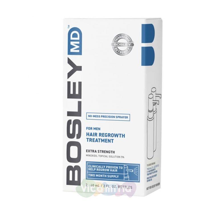 BOSLEY MD Усилитель роста волос для мужчин For Men Hair Regrowth Treatment 5% Spray, 60мл х 2