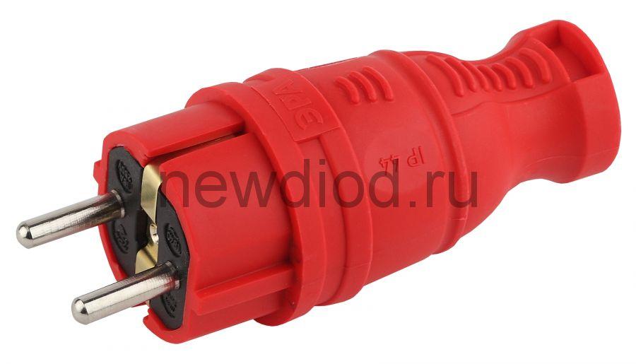 V8-RED-IP44 ЭРА Вилка каучуковая з/з прямая 16A IP44 красная