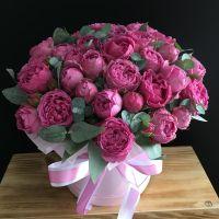 Кустовая роза Мисти Баблс в шляпной коробке
