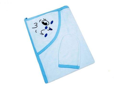 Купальное махровое полотенце с уголком + варежка (голубой 01889)