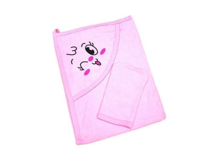 Купальное полотенце с уголком, цвет розовый 01889-1 МАМИН МАЛЫШ