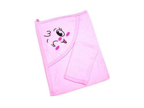 Купальное махровое полотенце с уголком + варежка (розовый 01889-1)