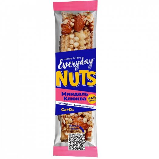 EVERYDAY NUTS Батончик ореховый МИНДАЛЬ КЛЮКВА 40г