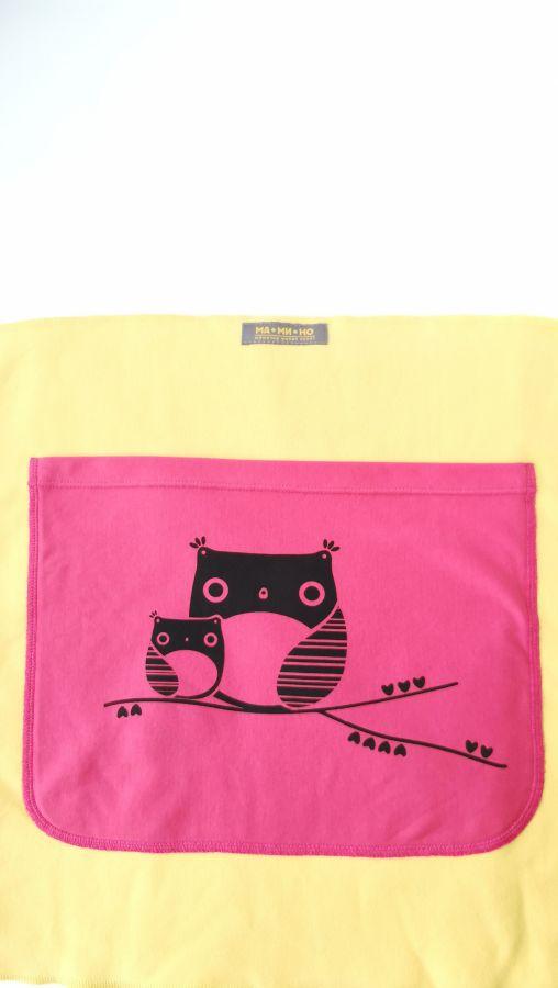 Трикотажный слинг-шарф жёлтый с розовым карманом Совы