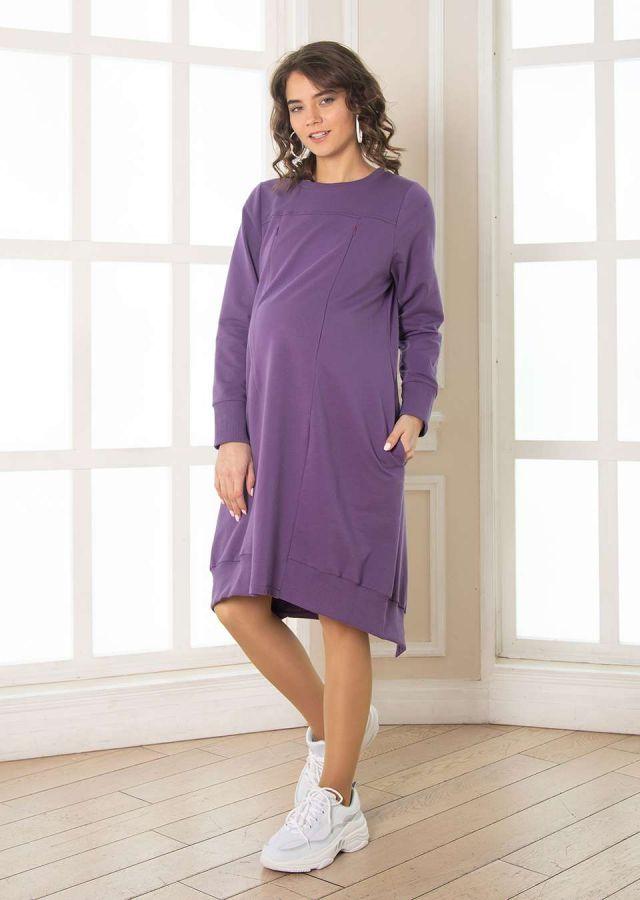 """Платье """"Оливия"""" для беременных и кормящих трикотаж виноград"""
