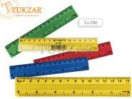 Линейка пластиковая цветная 15 см, с двойной шкалой, в упаковке (арт. Tz-380)