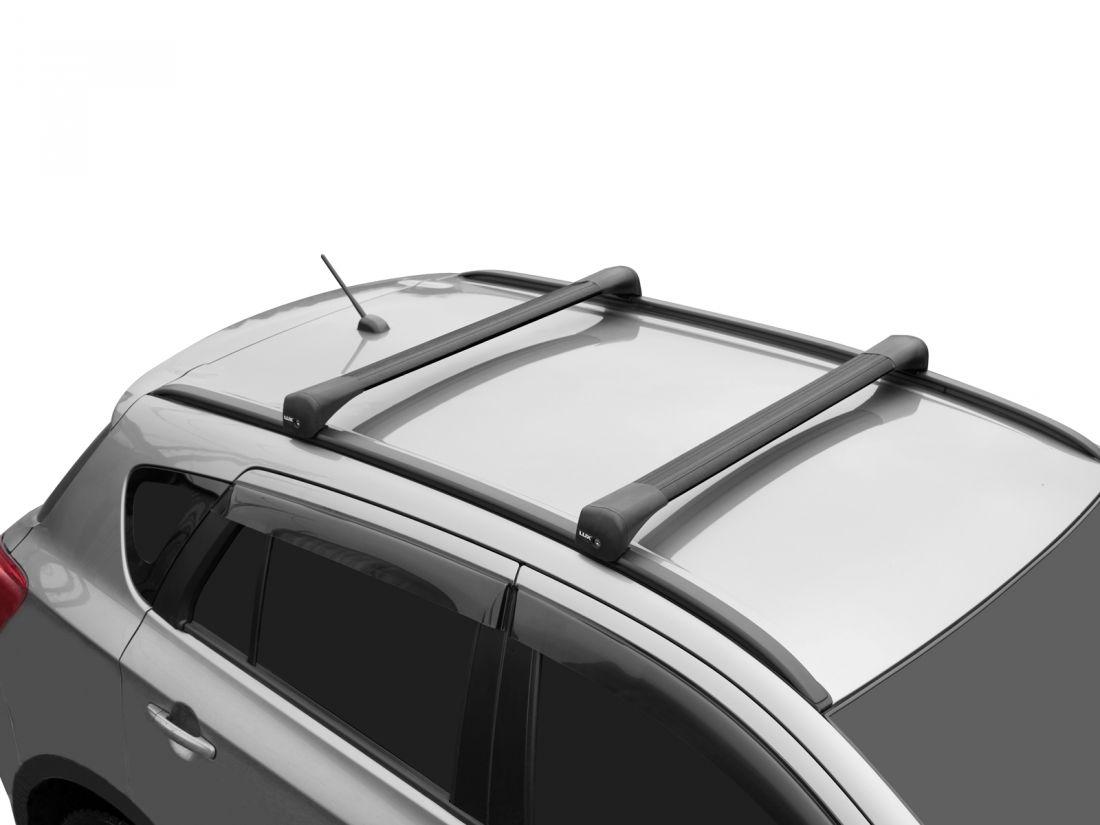 Багажник на крышу Suzuki SX4 2013-..., Lux Bridge, крыловидные дуги (черный цвет)