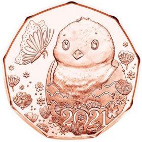«Маленькое чудо» Цыплёнок(Пасхальная монета) 5 евро Австрия 2021