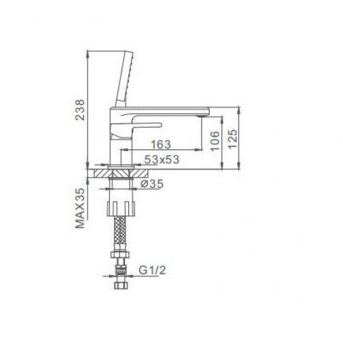 Врезной смеситель для ванны на 3 отверстия Frap H60 F1160
