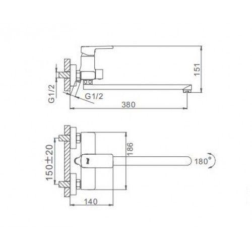 Смеситель для ванны Frap H60 F2260