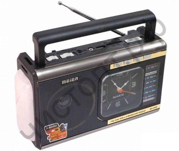 Радиоприёмник сетев. Meier M-U40 , аккум.,батар. (USB,SD,AUX ) + фонарь + стрел.часы