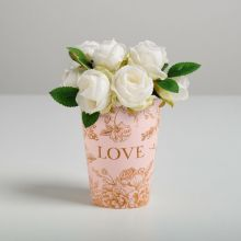 Стаканчик для цветов Love, розовый, 11 х 8,5 см