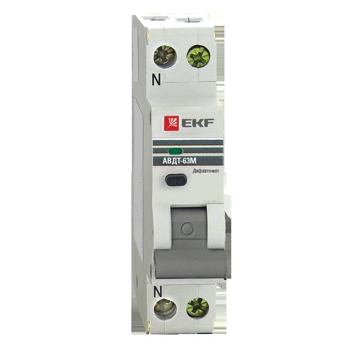 EKF PROxima автомат. выкл. диф. тока АВДТ-63М 32А/30мА (1мод.,хар-ка C,эл. УЗО типа AС)6кА DA63M-32