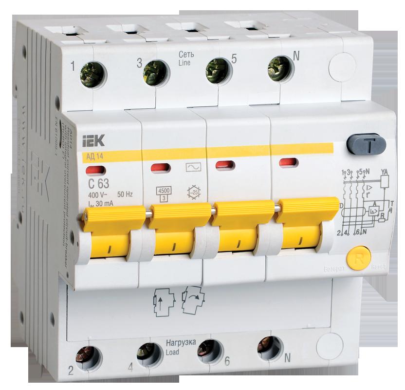 Дифференциальный автоматический выключатель IEK MAD10-4-016-C-030