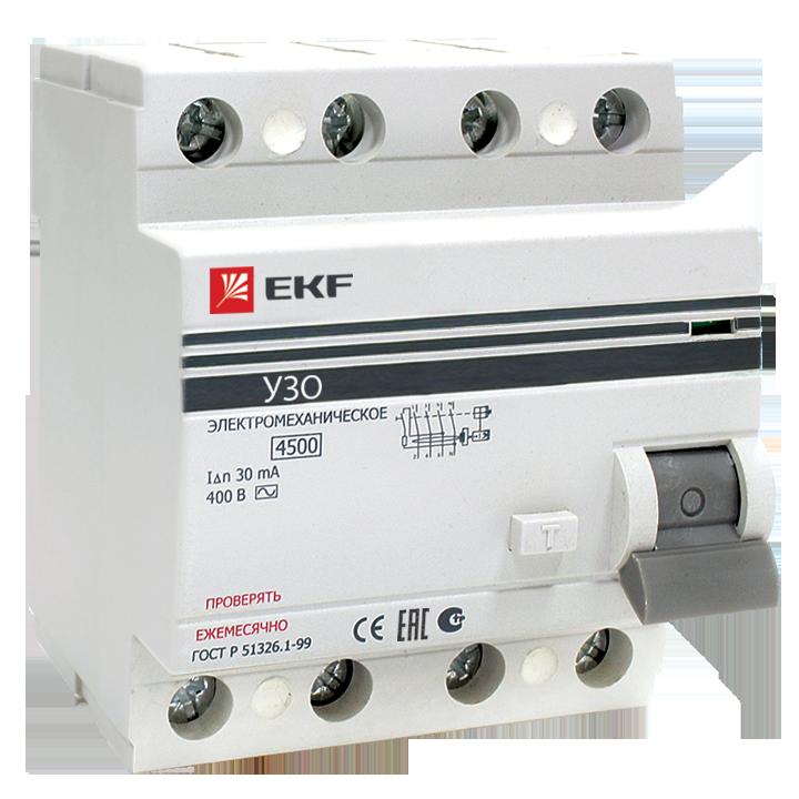 EKF PROxima устройство защитного отключения УЗО 4P 40А/30мА (электромех.) 4,5кА elcb-4-40-30-em-pro