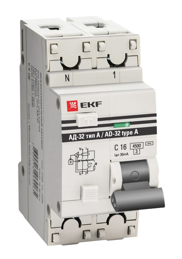 Дифференциальный автомат АД-32 1P+N 25А/30мА (тип А) EKF PROxima