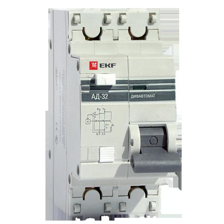 EKF PROxima диф. автомат АД-32 1P+N 20А/30mA хар-ка C, УЗО типа AC, электрон. 4,5кА DA32-20-30-pro