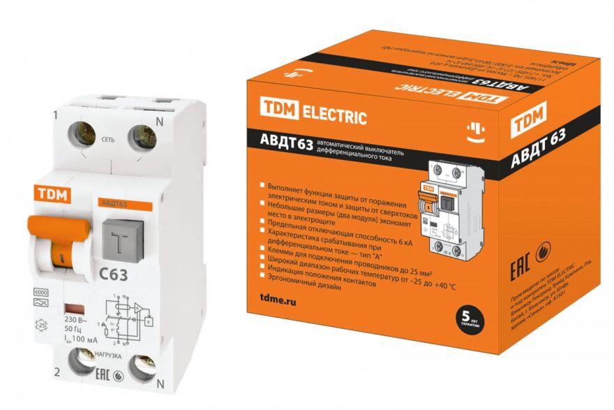 Дифференциальный автоматический выключатель TDM АВДТ63 SQ0202-0004