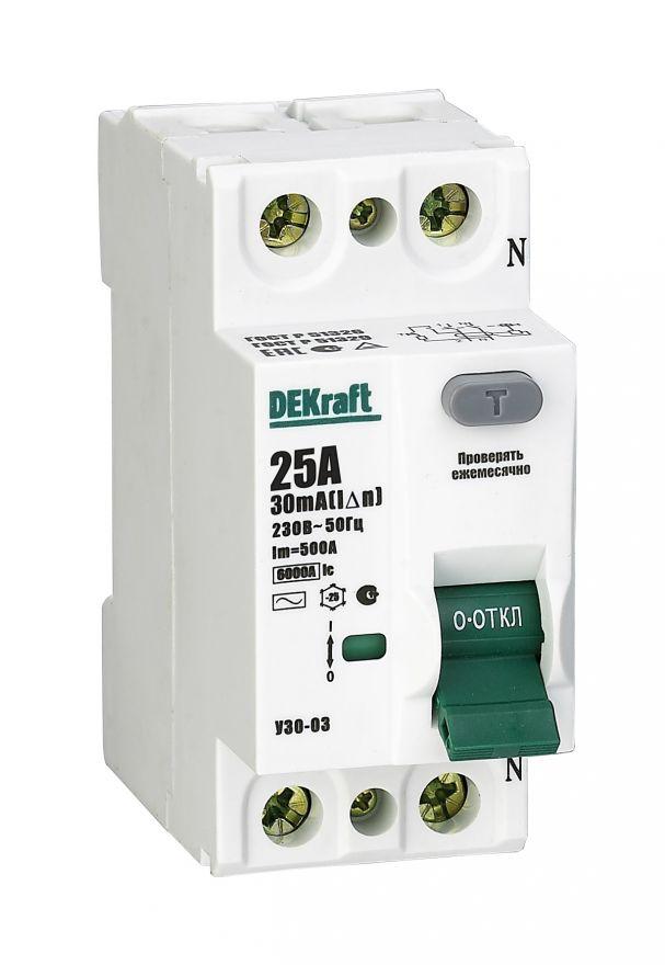 Schneider Electric DEKraft устройство защитного отключения УЗО-03 2P 32А/30мА AC 6кА 14055DEK