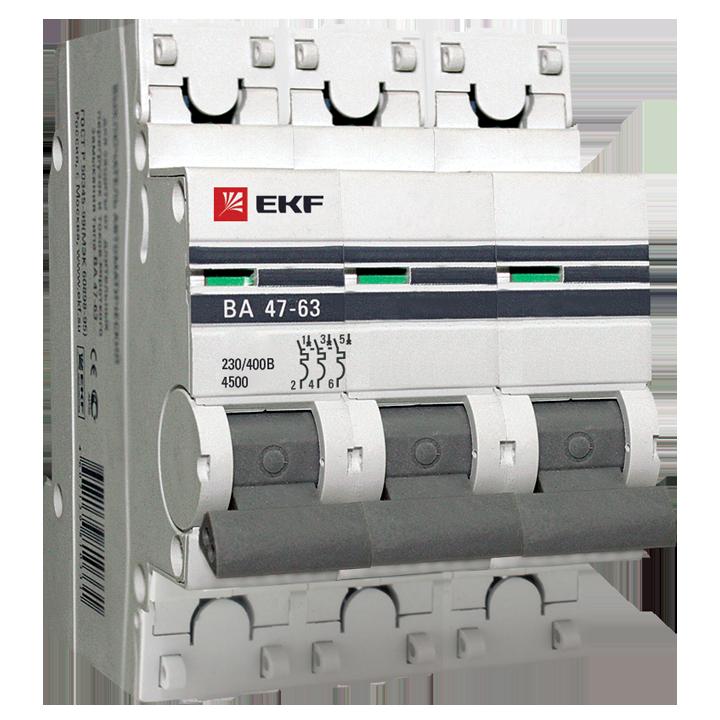 EKF PROxima автоматический выкл. ВА47-63 3P 40А 4,5kA х-ка С mcb4763-3-40C-pro (с опломбировкой)