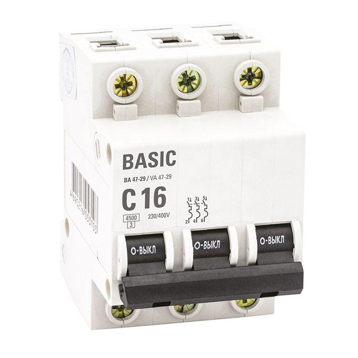 EKF Basic автоматический выкл. ВА47-29, 3P 32А (C) 4,5кА  mcb4729-3-32C