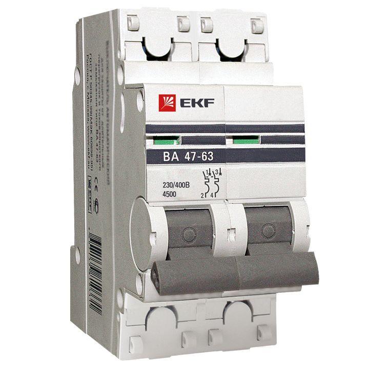 EKF PROxima автоматический выкл. ВА47-63 2P 20А 4,5kA х-ка С mcb4763-2-20C-pro (с опломбировкой)