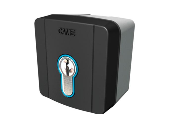 SELD1FDG Ключ-выключатель накладной с цилиндром замка DIN и синей подсветкой (806SL-0050)