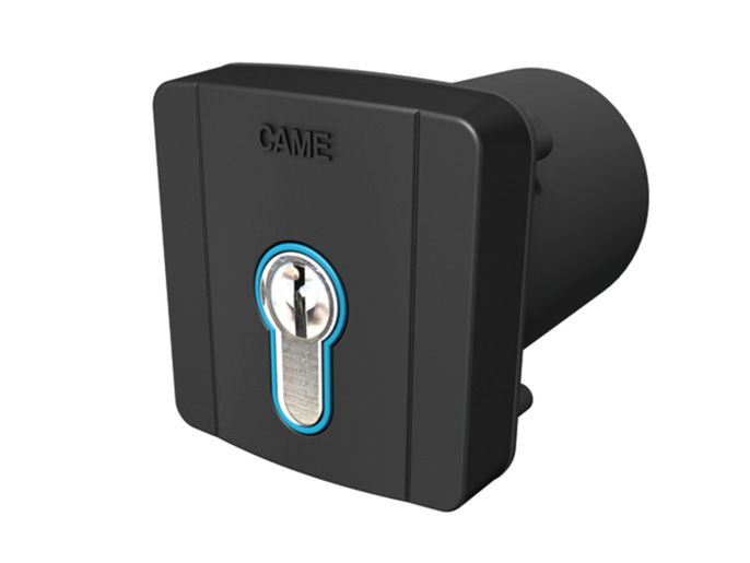 SELD2FDG Ключ-выключатель встраиваемый с цилиндром замка DIN и синей подсветкой (806SL-0060)