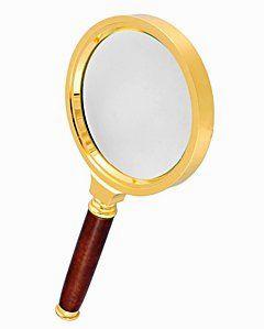 Лупа ручная круглая 6х-90мм в золотистой оправе