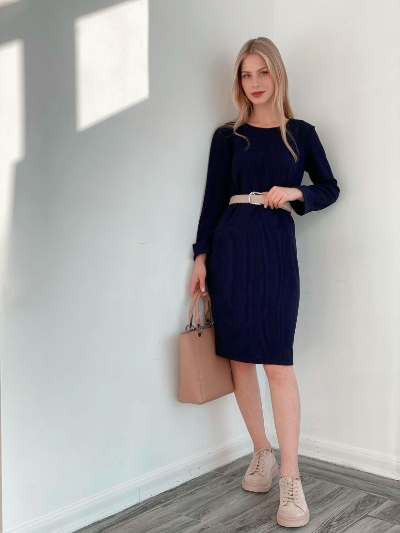 3837 Платье-кокон из трикотажа тёмно-синее
