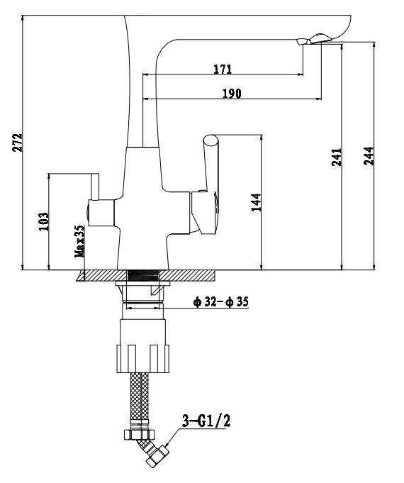Смеситель для кухни с выходом под  фильтр Ewigstein 3223515 Черный