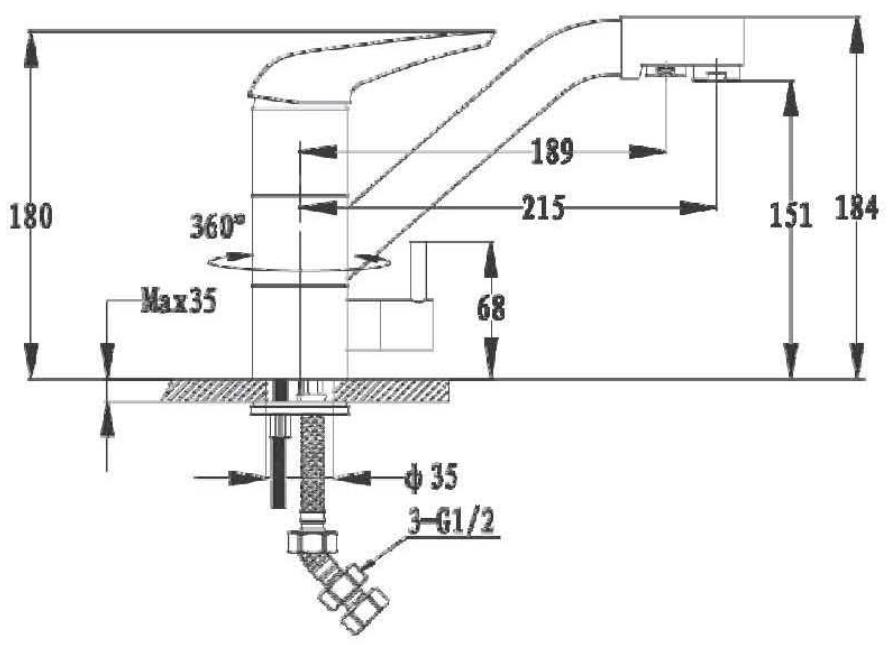 Смеситель для кухни с выходом под фильтр GranFest Мрамор GF2624-1 Графит