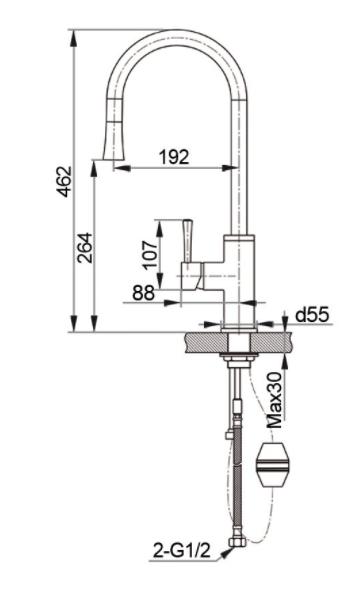 Смеситель для кухни с выдвижной лейкой GranFest мрамор GF7652 Графит