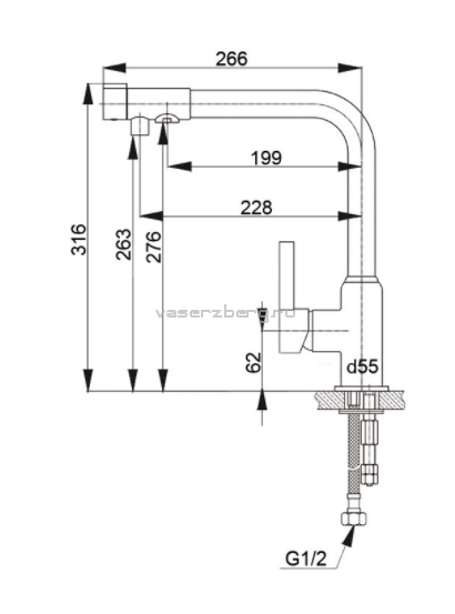 Смеситель для кухни с выходом под фильтр GranFest Мрамор GF7671 Серый