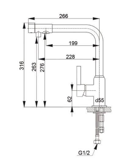 Смеситель для кухни с выходом под фильтр GranFest Мрамор GF7671 Графит