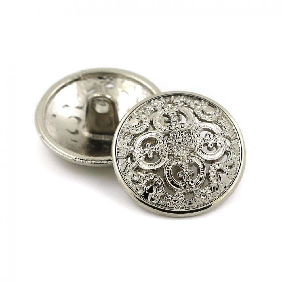 Пуговица ажурная на ножке, металл, цвет серебро, шт. (vbl)