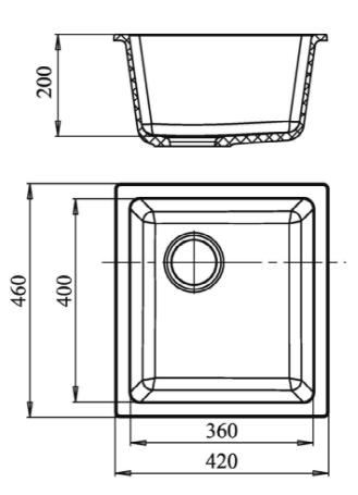 Кварцевая подстольная мойка Ewigstein EW3540 Серый металлик