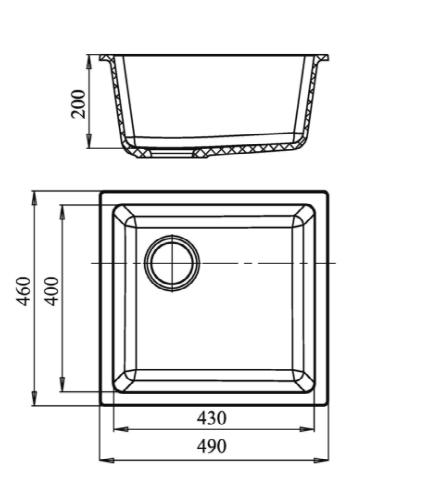 Кварцевая подстольная мойка EW4540 Серый Металлик