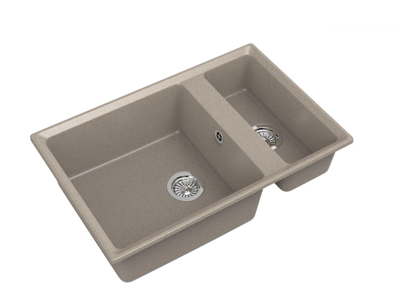 Мраморная мойка для кухни GranFest Level GF-LV760K Песочный