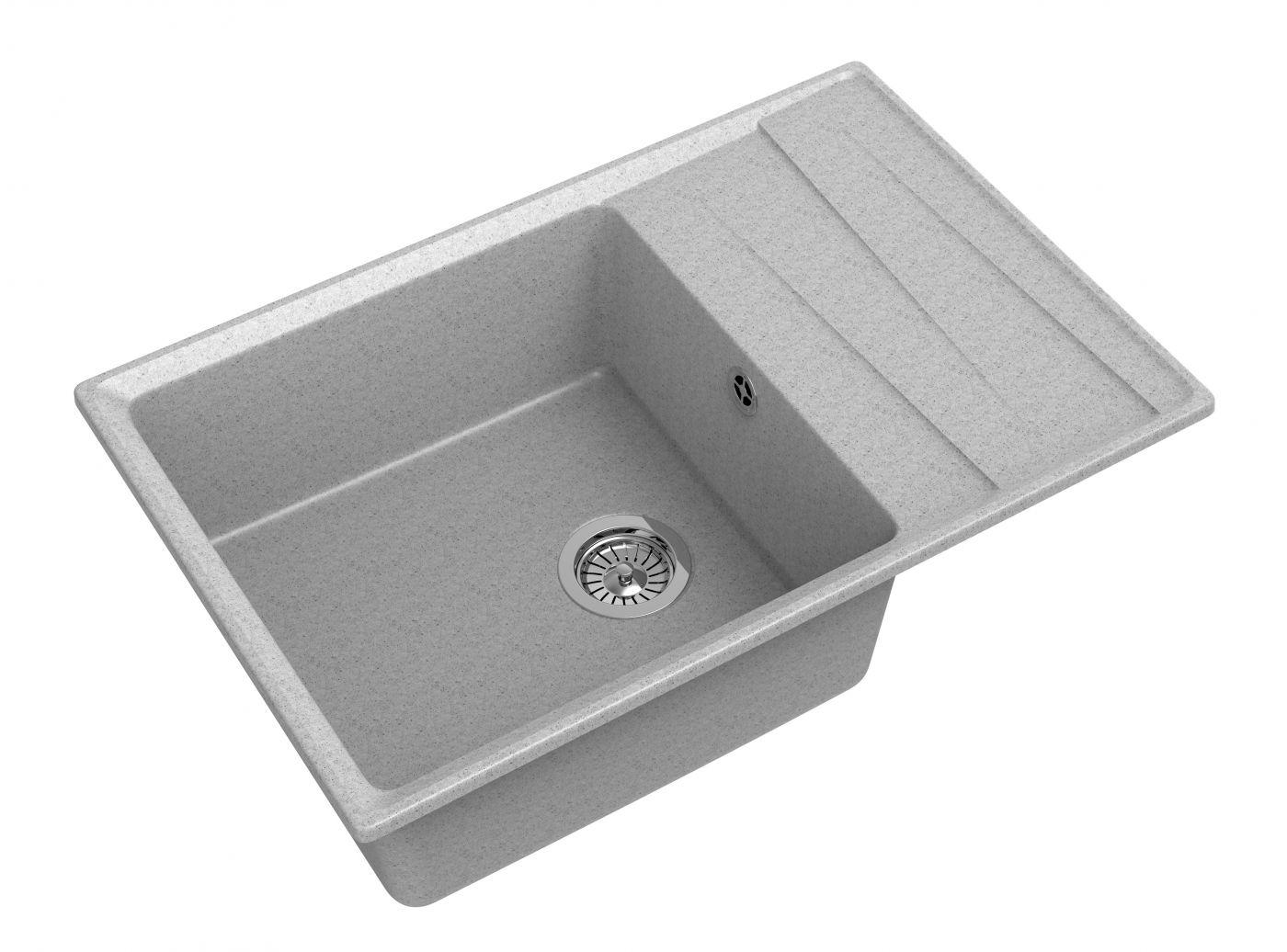 Мраморная мойка для кухни GranFest Level GF-LV760L Серый