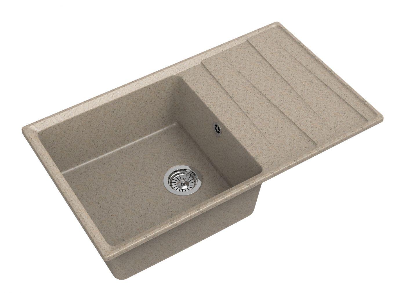 Мраморная мойка для кухни GranFest Level GF-LV860L Песочный